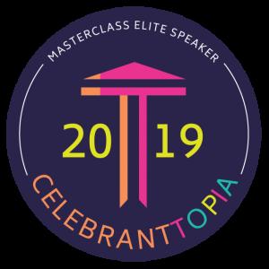 Logo of Celebranttopia indicating Glenda Procter was a Masterclass Elite Speaker in 2019